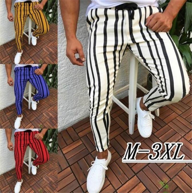 I nuovi uomini casuali a strisce lunghe Jogger pantaloni da uomo Harem fitness jogging banda urbano dritto con coulisse Slim Fit Pantaloni 3XL