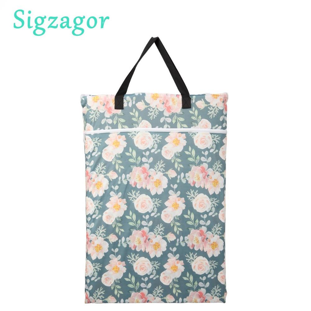 [sigzagor] 1 Large Hanging Wet/dry Pail Bag For Cloth Diaper,inserts,nappy,laundry With Two Zippered,reusable,19 Choices Q190529