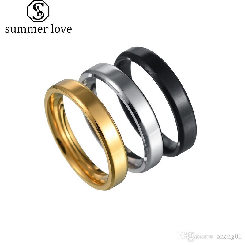 4 ملليمتر 6 ملليمتر 8 ملليمتر الفولاذ المقاوم للصدأ خواتم للرجال النساء بسيطة زوجين الزفاف عالية مصقول حواف الخطوبة الفرقة حلقة المجوهرات الأسود الذهب والفضة