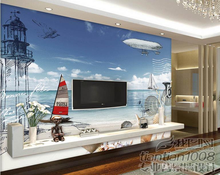 нестандартный размер 3d обои фото обои гостиная парусная лодка 3d картина маслом картина диван тв фоне обои росписи нетканые наклейки