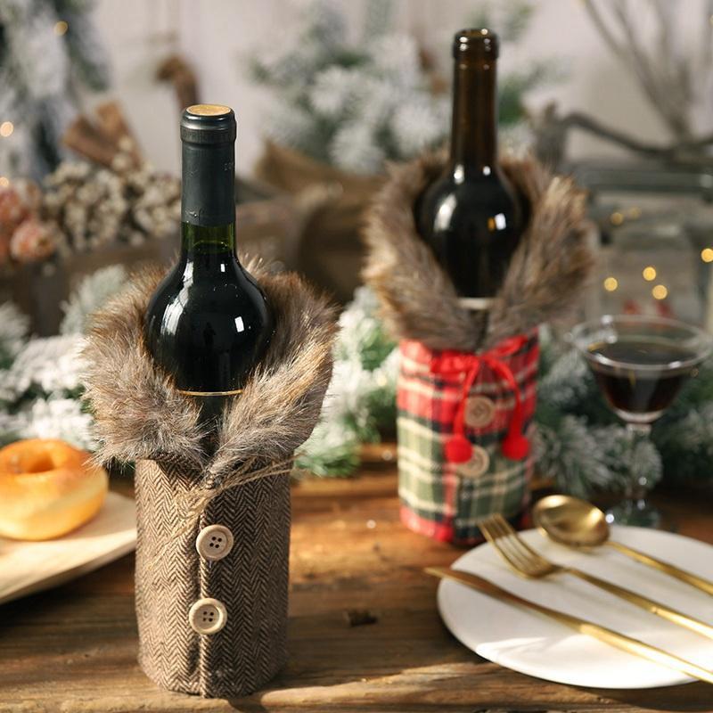 Wine Plush Natal Garrafa Bolsas Botão Wine Bottle Plaid Tampa Saco do presente de Natal Decoração Início HHA807