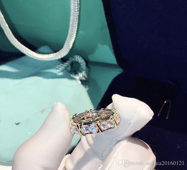 Designer classico di lusso Schlumberger S925 Sterling Silver Cross Crystal Wide Ring per gioielli da donna