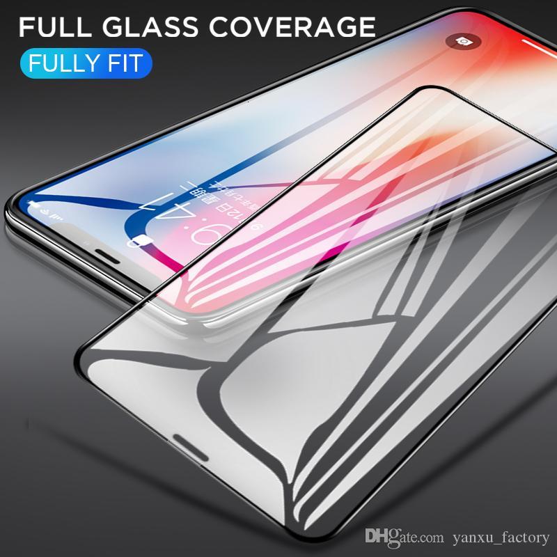 iPhone SE 2020 11 Pro Max XS XR Max X 8 7 6 6S Artı 5S temperli cam 3D 9H Tam Ekran Kapak Patlamaya dayanıklı Ekran Koruyucu Film İçin