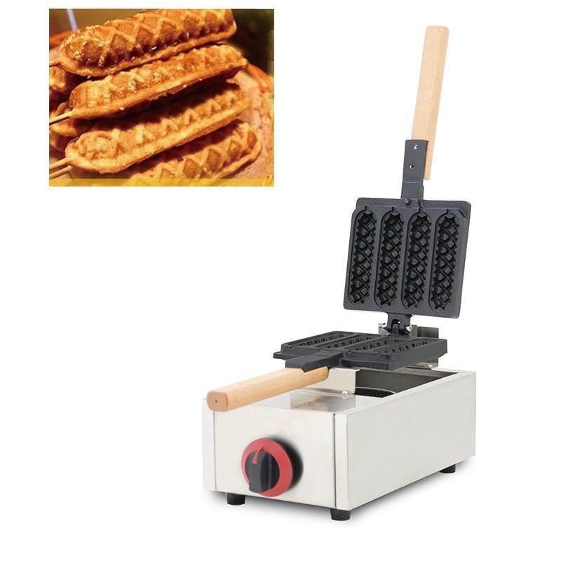 Gaz Muffin Hot Dog Makinesi Dönen Ticari 4 adet Sosis Çıtır Fransız Mısır Hotdog Waffle Yumurta Kek Makinesi Demir Tava ...
