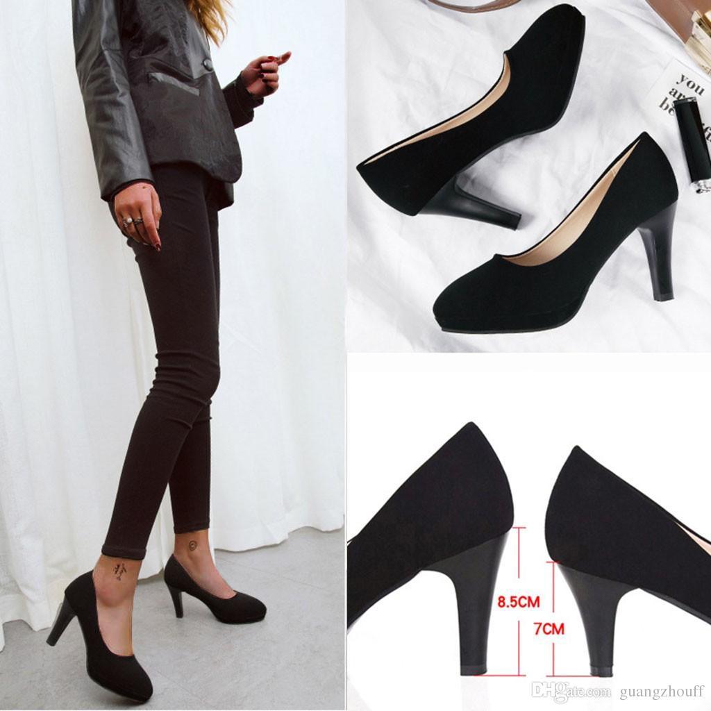 Sandali Summer Office Tacchi alti 2019 Donna Lady Fashion Diario di lavoro Comfort Scarpe basse nere Tacchi alti Scarpe