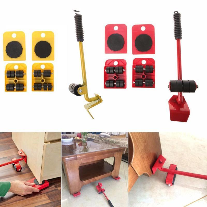 Meubles Mover Outils Set Meubles Transport Lifter lourds Stuffs 4 roues mobiles Outil Mover Rouleau + 1 Bar Roue Dropshipping