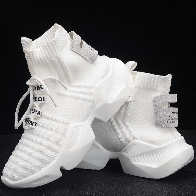 otoño Alto-top de las zapatillas de deporte de la plataforma de las mujeres de punto Zapatos Casual Mujer Blanco Negro zapatillas de malla de aire gruesos Zapatos de la zapatilla papá