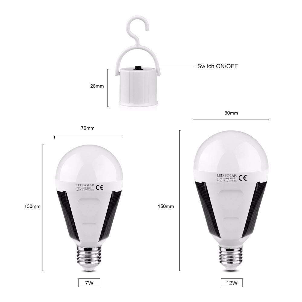 Portable LED Solar Light Bulb 7W E27 Tent Camping Fishing Lamp Rechargeable New