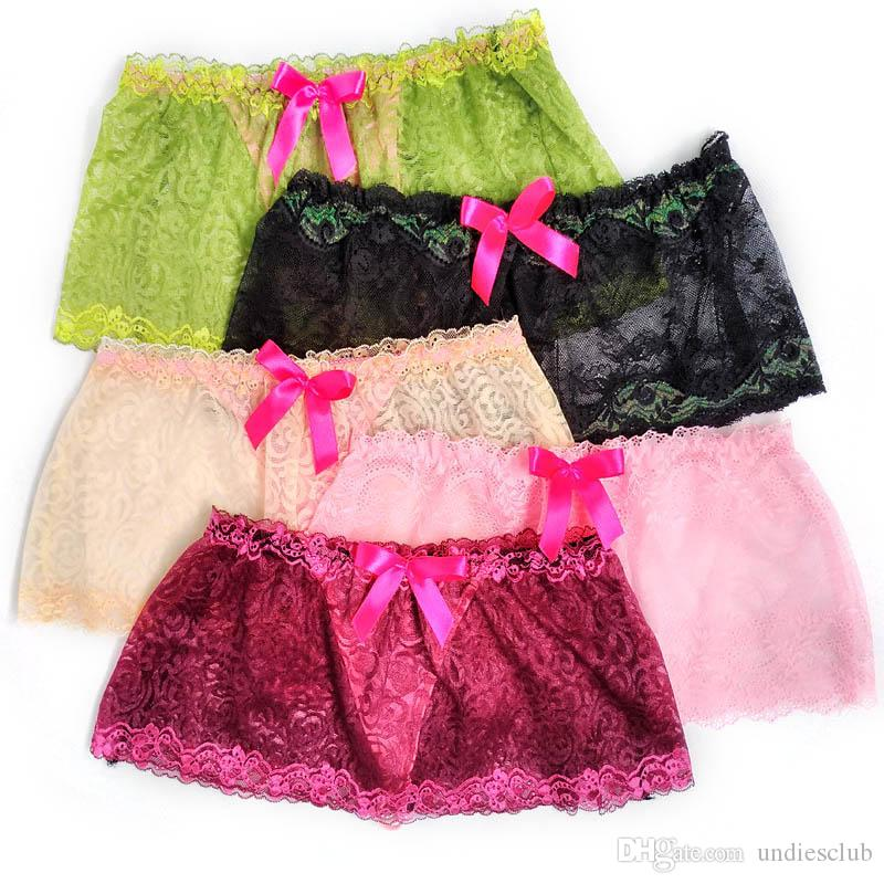Bulge Pouch Sissy Thong Sexy Lingerie Skirted Mens Underwear Gay Panties See Through Lace Bow Front Gay Male Underpants