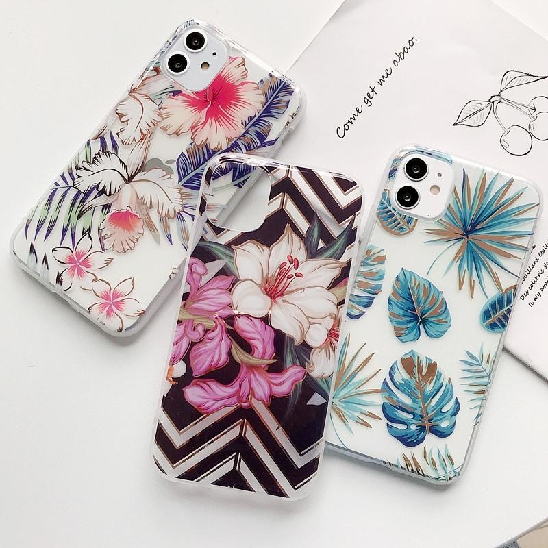 Caja de la flor de la hierba de moda de lujo de la hoja teléfono para el iPhone 11 Pro Max X X Xr 7 8 más la caja a prueba de golpes Casos cubierta transparente