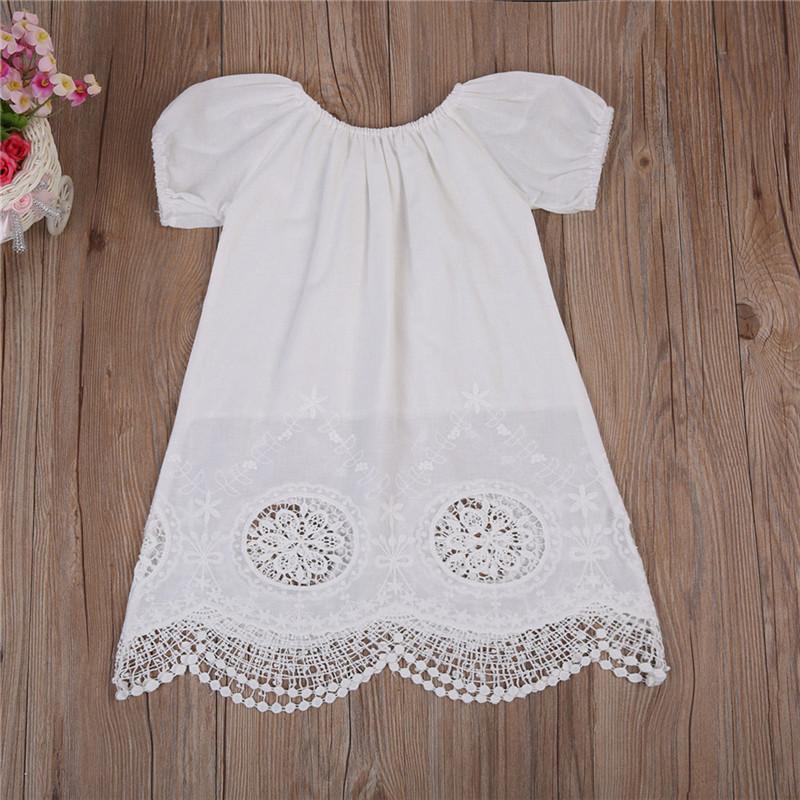 Pudcoco bébé tout-petits enfants layette été robe à manches courtes en coton blanc Casual Robe 0 à 4T