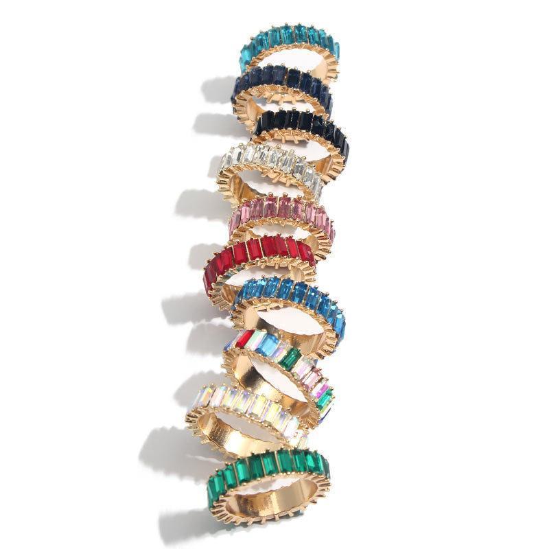 Arco-íris Diamond Rings menina anel de cristal inoxidável das mulheres anéis de diamante de aço do metal Jewery listrado colorido do partido Anel GGA2579 Favor
