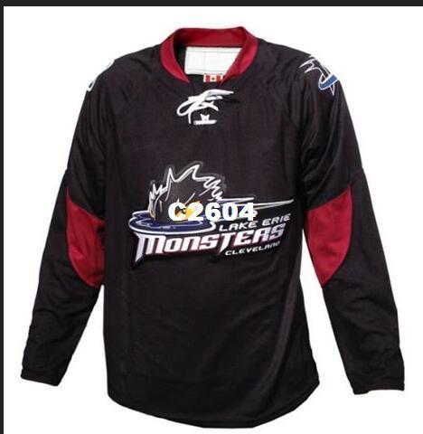 Homens reais Real Bordado Completo Personalizar AHL Cleveland Lago Erie Monstro Hóquei Jersey ou Personalizado Qualquer Nome ou Número