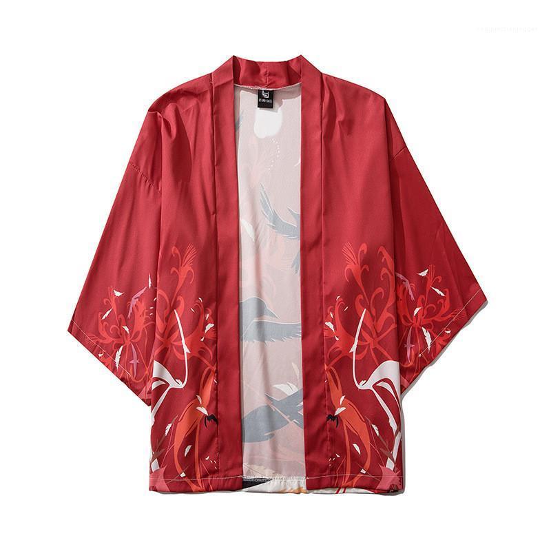 Designer-chinesische Art-Vogel-Druck-lose dünnes Hemd Frühlings-O Ansatz Männer Kleidung Männer Kimono Tops