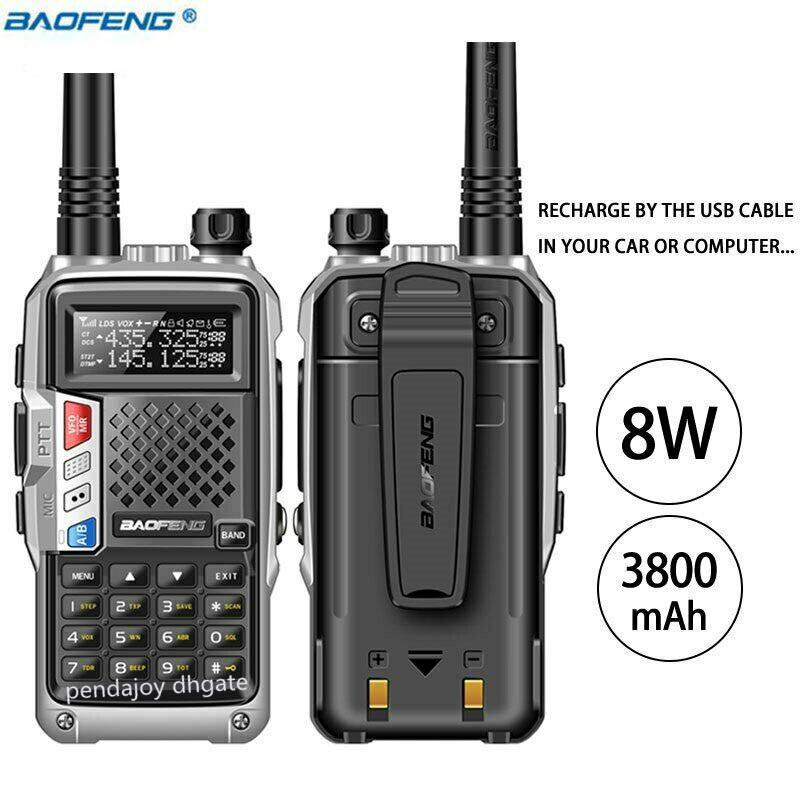 Wholesale Original BaoFeng BF-UVB3 Plus Walkie Talkie Powerful CB Radio Transceiver 8W 10km Two Way Radio Radio Frequency Machine