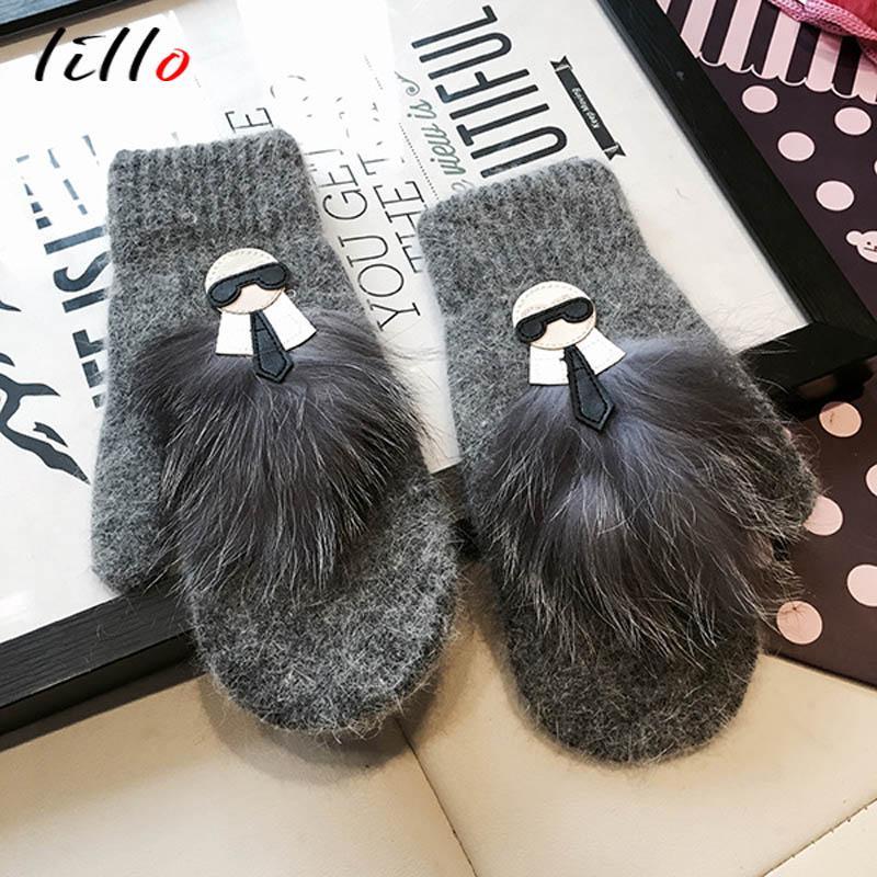Fashion-Glove leather gloves Raccoon hair true hair rabbit fur blended even finger glove female Warm tide goods Winter