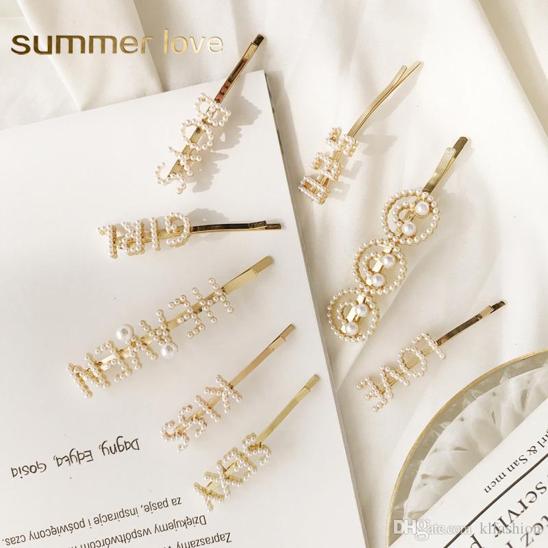 Hot Sale Sweet Cute Korea Imitation Pearl Hair Clip for Women Fashion Letter LOVE KISS Smile Face Hairpins Gold Hair Accessories