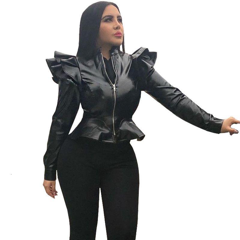 Bomber en cuir Faux Veste noire à manches longues femmes Zipper Ruffle Shrug Vetes Slim Manteaux courts et vestes d'extérieur V191022