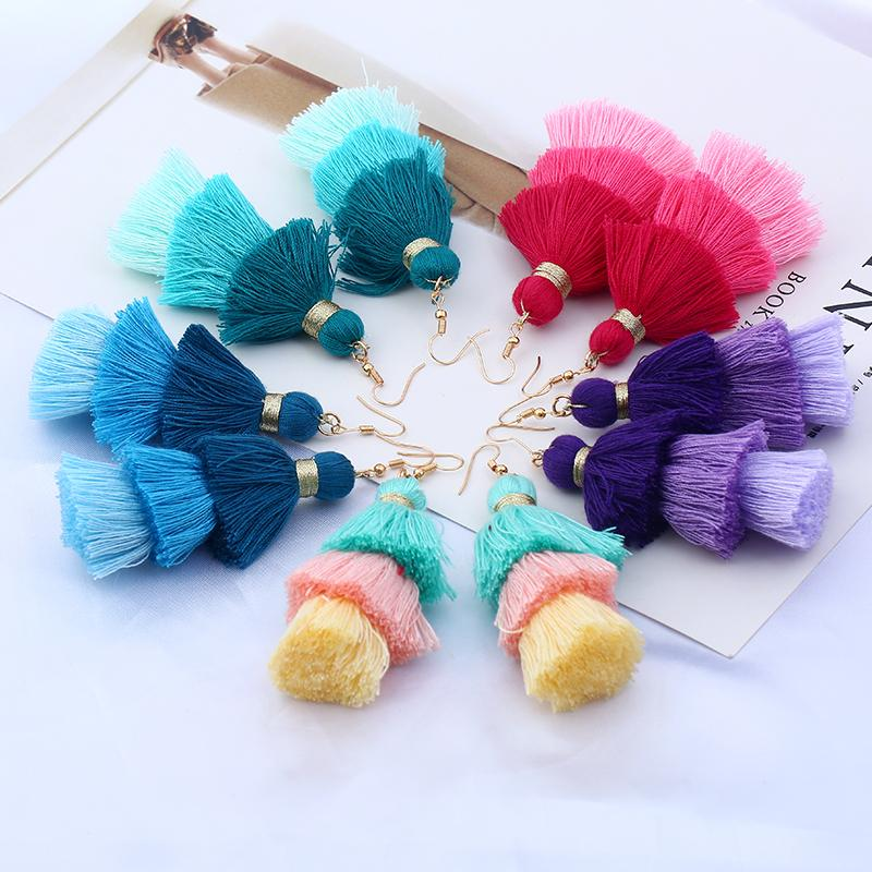 Mulit Color Long Tassel Earrings For Women Statement Jewelry 3 Layered Fringe Drop Earrings Big Fashion Handmade Dangle Earrings