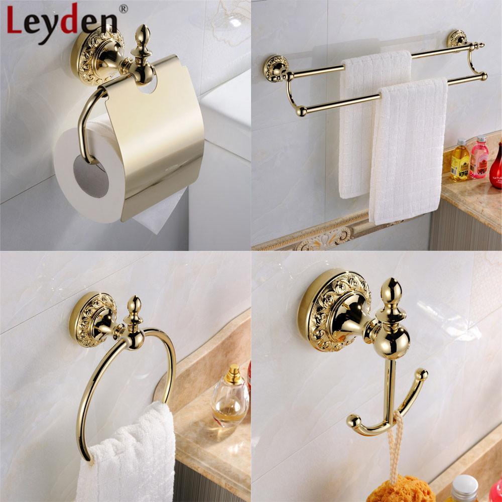 Leyden Wand befestigte 4pcs Badezimmer Zubehör-Set Gold-Messing Doppeltuchstäbe Handtuchring Toilettenpapierhalter Kleiderhaken