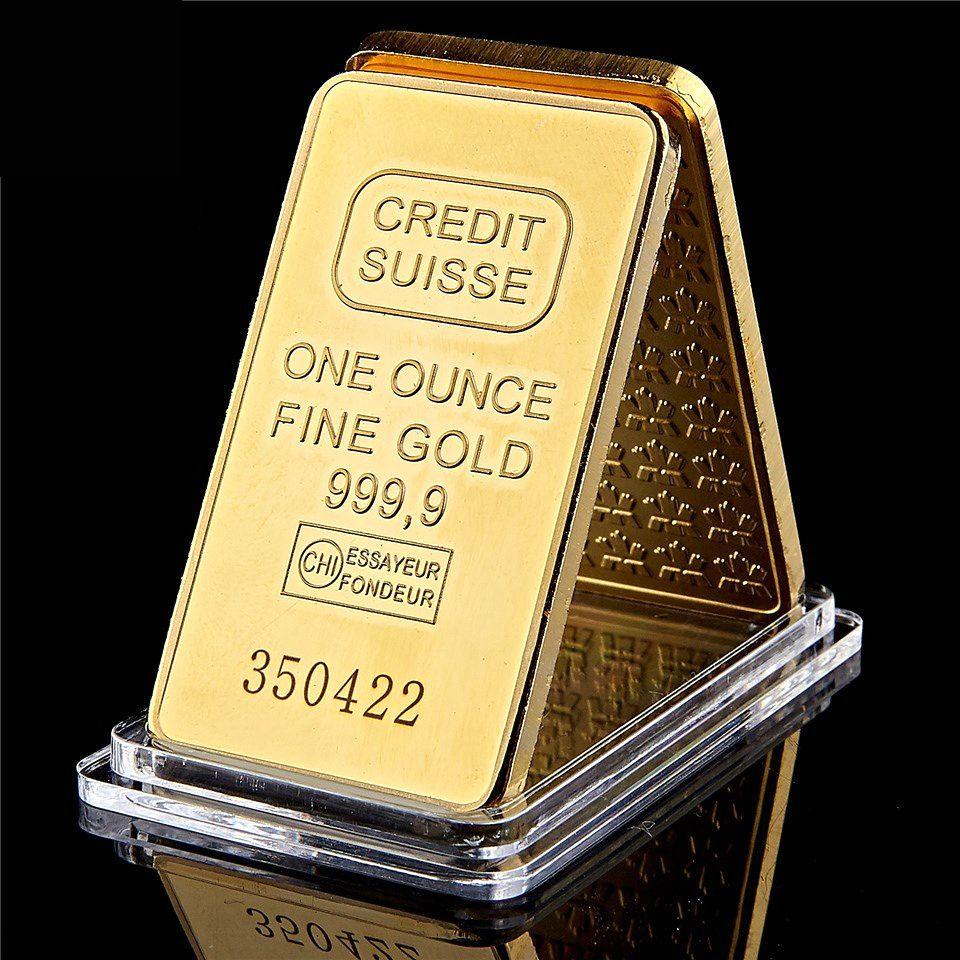 24K Gold Plated Buillion One Ounce Fine Gold 999.9 Magnetic Credit Suisse Gold Bullion With Different Numbers