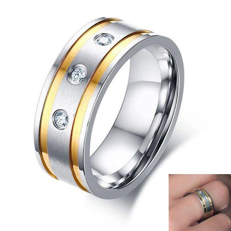 Kişilik Biker Düğün Takı için 2019 Paslanmaz Çelik Bling Üç Zirkon Beyaz Renk Erkek Yüzüğü