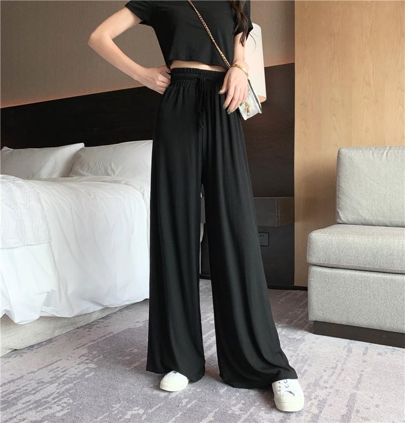 iF3nX P7mmr pantsnavel couleur casual mince courte solide jambe large costume femmes t-shirt à manches courtes femmes élastiques taille haute pantalon large jambe Casua