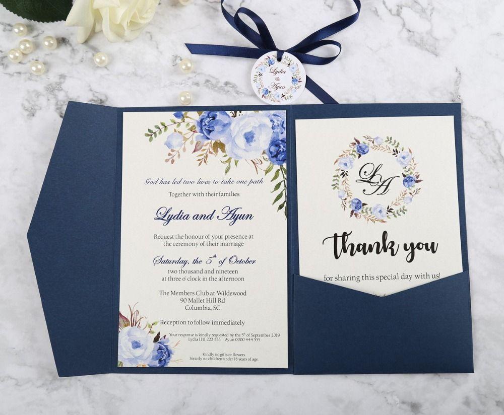Invitación azul del boda del tríptico de bolsillo nueva llegada con la tarjeta de RSVP y la cinta y la etiqueta redonda, para requisitos particulares invita impresión de la flor de quinceañera