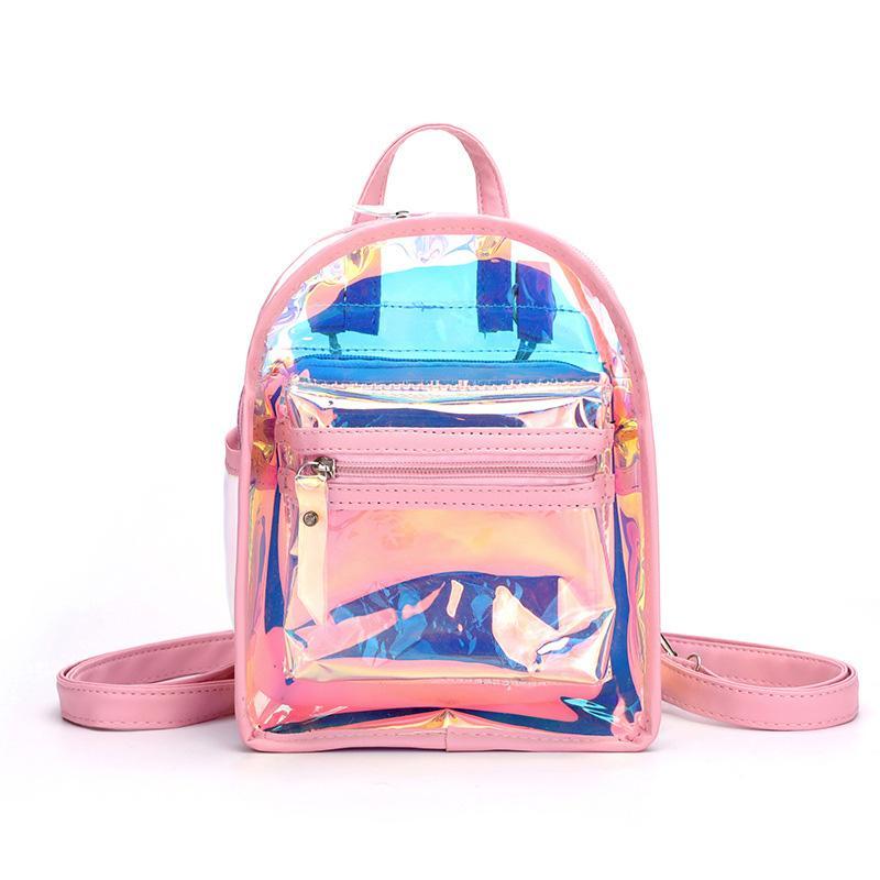 Casual Mini Black Backpack for Girls Travel Bags Women Backpacks PVC Laser Shoulder Bag Student Cute Daypack Backpack