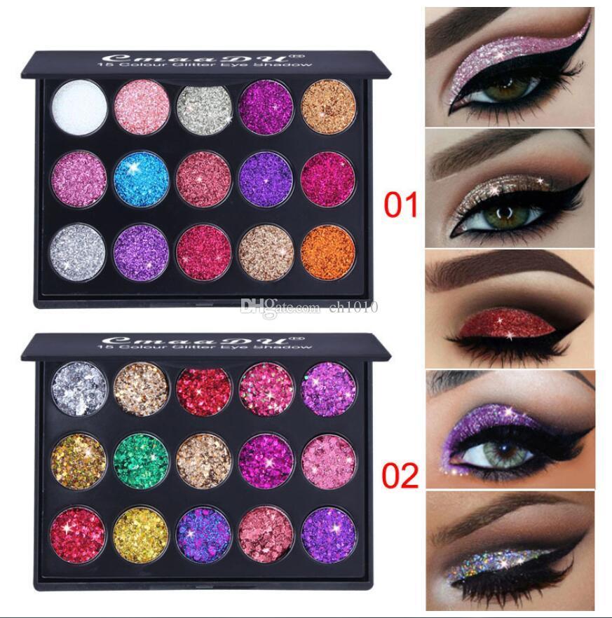 CmaaDu 15 Colors Glitter Eye Shadow Diamond Sequins Shiny Eyeshadow Palette Branded Shining Eyes Makeup Palettes DHL Free