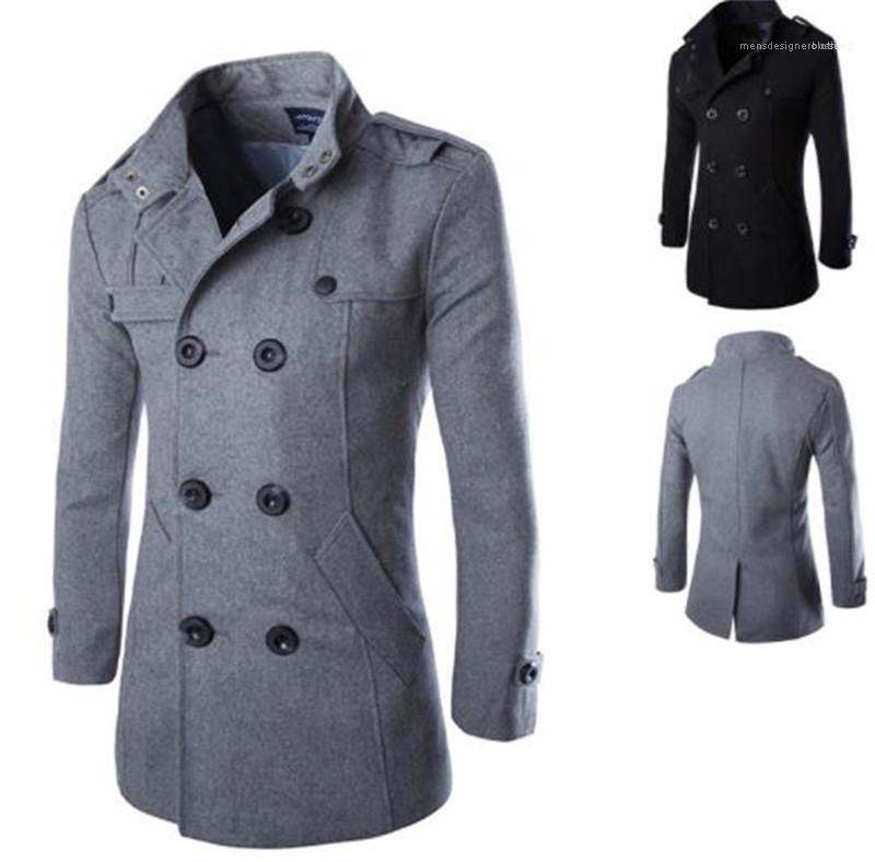 Düğme Erkekler Lüks Designer Ceket Yün İnce ile Uzun Kollu Standı Yaka Erkek Palto Casual Dış Giyim