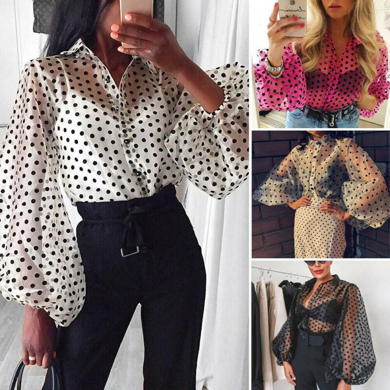 Women Polka Dot Lantern Sleeve Yoga Shirt Female Mesh Sheer Tops See Through Button Turn Down Collar Ladies Top