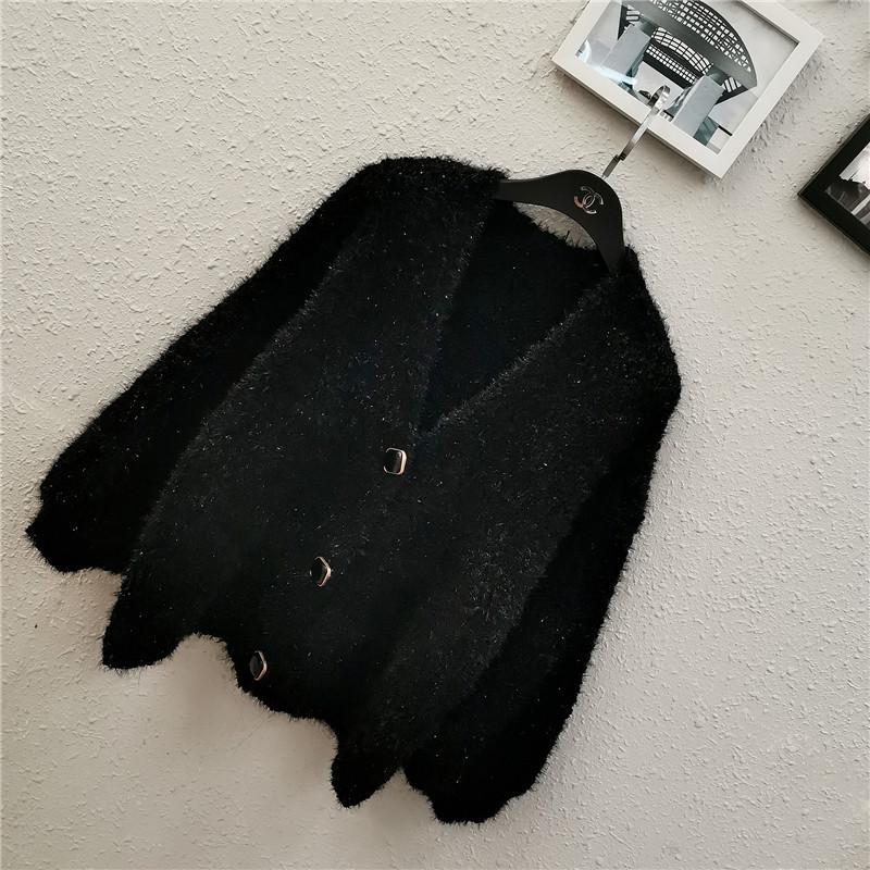 Atacado-Chegada nova camisola de malha Mulher Cardigan brilhante Fios Pescoço V completo manga Oversized Causal Knitwear Feminino