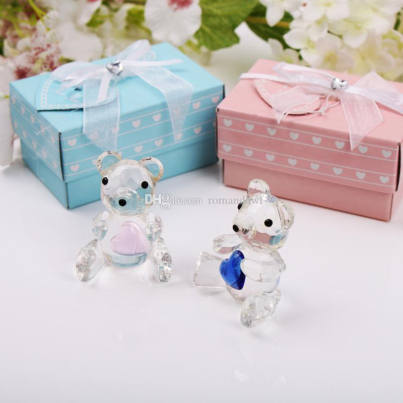 Crystal Bear Figurines Pink Blue Wedding Favors Birthday Party Gifts Centerpieces Accessories Baby Shower Home Decoration+DHL Free Shipping