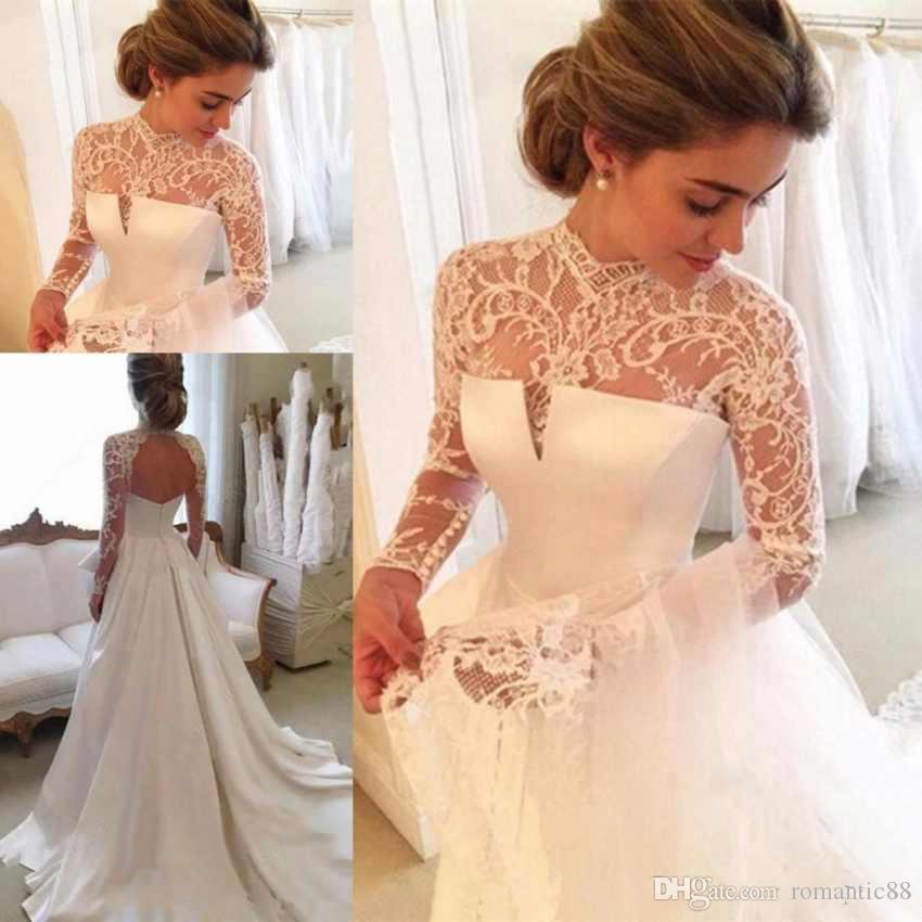 Элегантный Кружева A-Line Свадебные платья высокого шеи с длинными рукавами сатин Sexy Backless с Zipper Plus Размер сшитое Свадебные платья