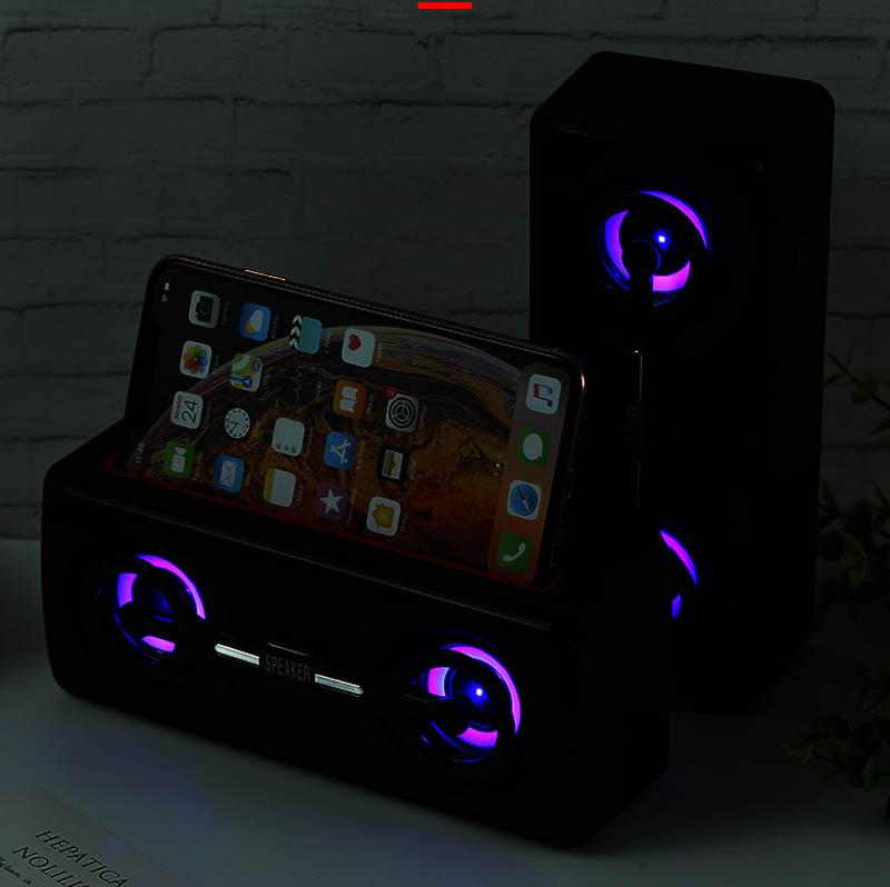 Altifalante sem fios Bluetooth Outdoor duplo Speaker Subwoofer com Lanterna Mobile Phone Suporte Multifunction Speaker para IPhone Xiaomi Huawei