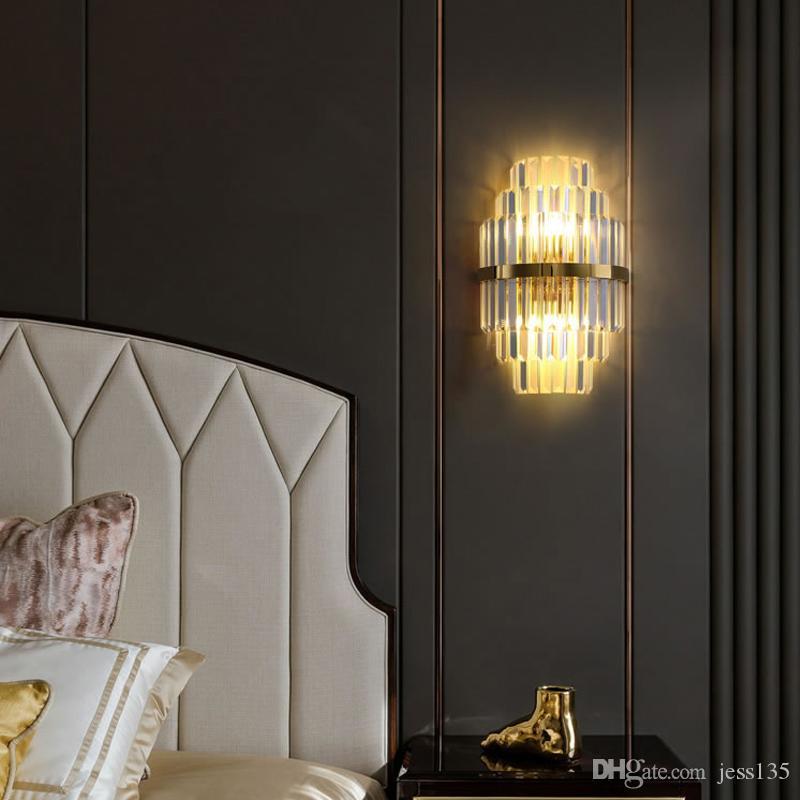 Золотые Crystal Swonds Sconces Освещение Спальня Спальня Гостиная Светодиодная Настенная Лампа Прикроватные Украшения Настенные Светильники Светильники
