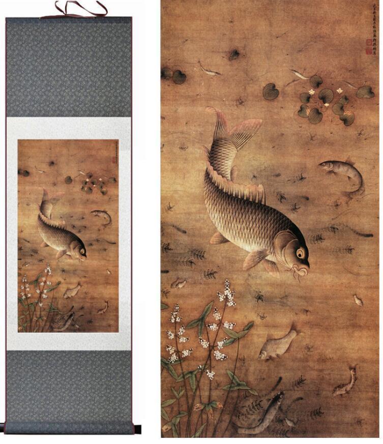 Бесплатная Доставка Рыба Живопись Традиционное Искусство Китайская Рыба Награда Бамбук И Рыба Painting1906191113