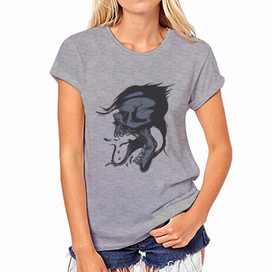 1pc gota servicio de envío - para mujer de manga corta gris corta camiseta con estampado en el pecho delantero 19 impresiones de tamaño S-2XL Estilo Número 3713