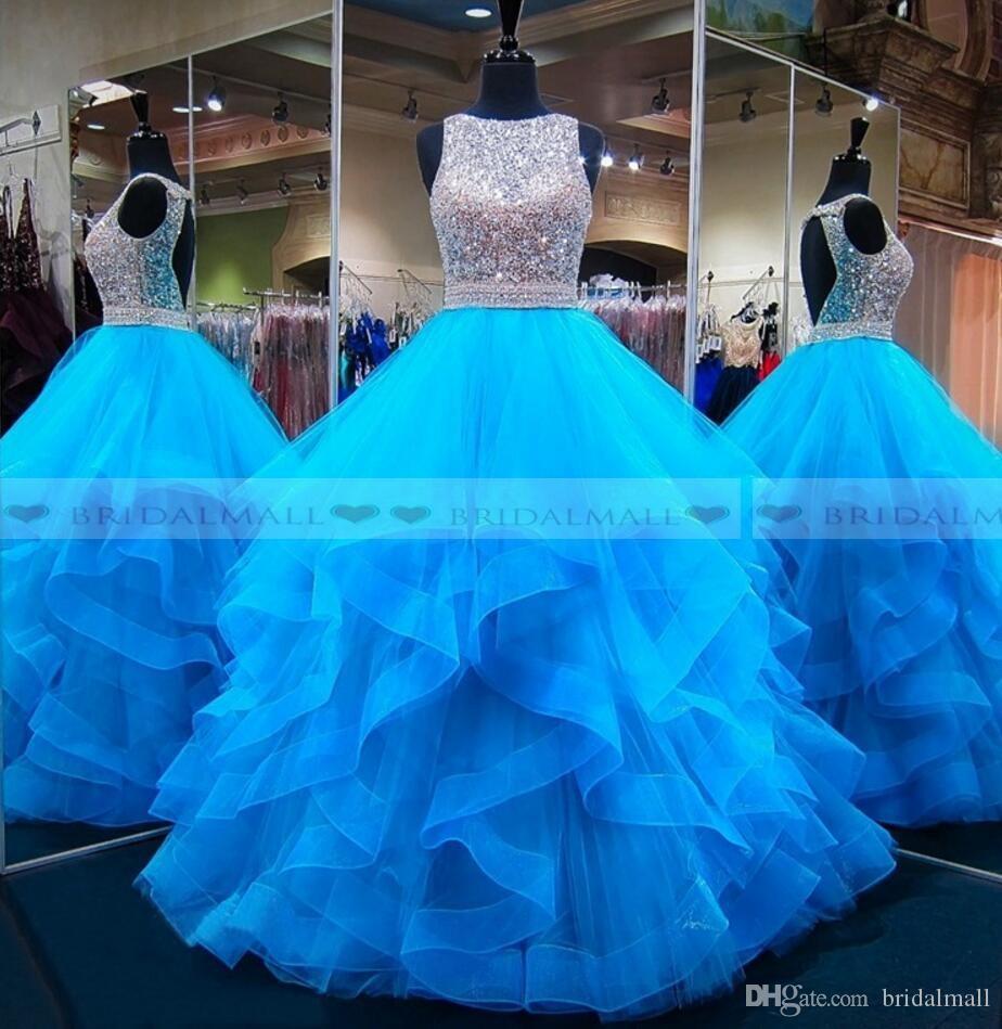 2019 아쿠아 블루 비딩 스팽글 Organza Quinceanera 드레스 계층 러플 스위트 16 걸즈 미인 드레스 백리스 포멀 파티 드레스 댄스 파티 롱