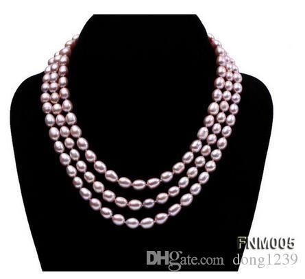NouveauCollier de perles de culture d'eau douce de forme ovale 7-8mm