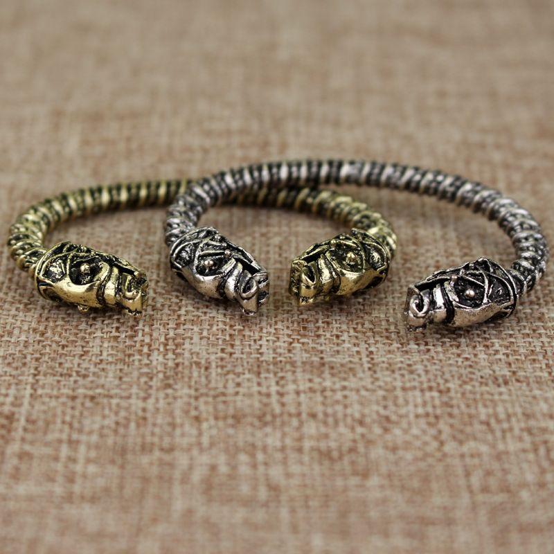 الفايكنج سوار اثنين ترأس الذئب فنرير فايكنغ الرجال أساور مجوهرات ماكسي الرجال باقان أساور مجوهرات الاسورة