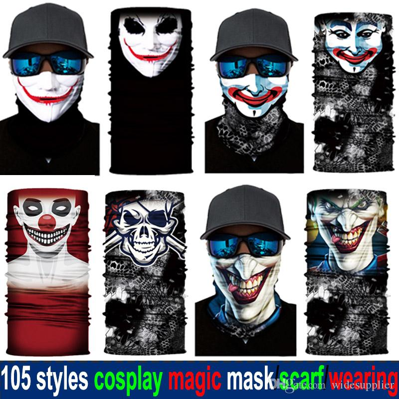 1lot=10pcs 105 Styles Halloween Cosplay Multifunction Magic Scarfs Bandanas Cool Camo Animal Flag Skull Mask Designer Scarfs for Kids Adult