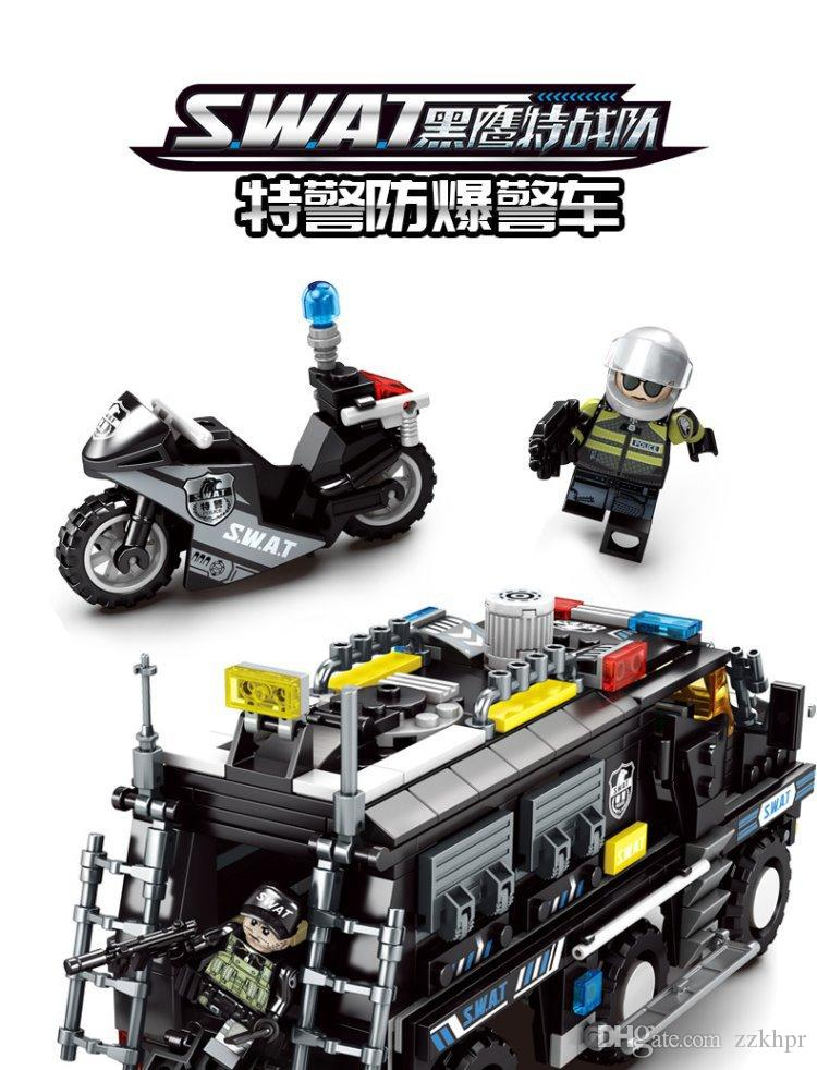 Black eagle special team explosion-proof armored car puzzle small particles spelled into building blocks toy gift