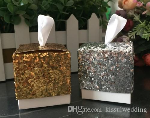 (100 Pieces / Lote) brilho e brilho Silver Glitter caixa favor para ouro e prata casamento favores e caixas de presente Bridal Party frete grátis