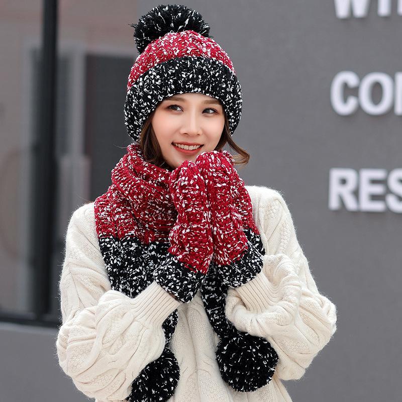 Женщина шляпа перчатки шарф наборы мода зима вязать шарф открытый теплый путешествия шапочки помпон шляпа Леди вязаный шарф TTA1569
