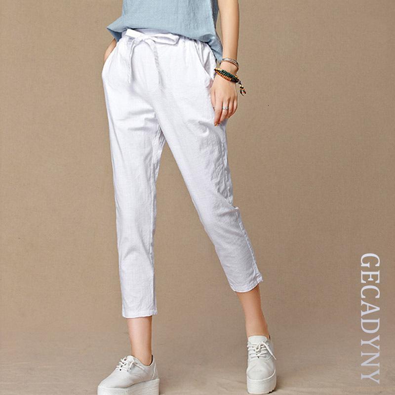 2019 été nouveau coton mode casual capris pantalon en lin pantalon taille élastique cultures pantalon pantalon sarouel taille 4XL femmes LY191210