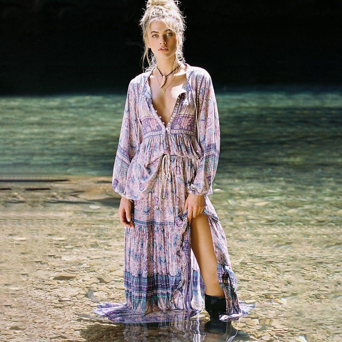 Lalic Çiçek Baskı Iki Parçalı Set Kadın Yaz Uzun Kollu V boyun Yüksek Bel Maxi Etek Üst Setleri Elbise Boho 2 parça Set 2019