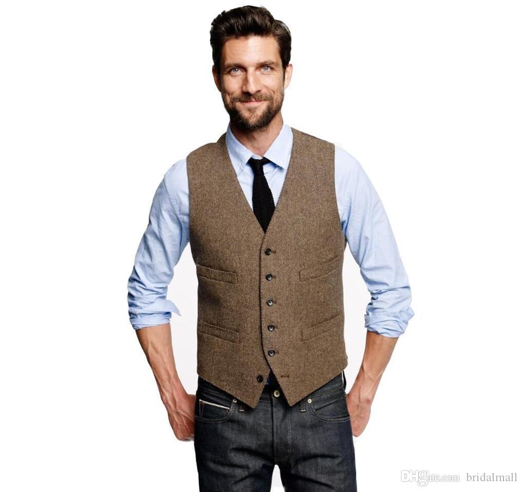 Moda 2019 Country Brown Farm Gilet Gilet per lana da sposa a spina di pesce Tweed Slim Fit Mens Suit Vest Farm Prom Dress Gilet Plus Size