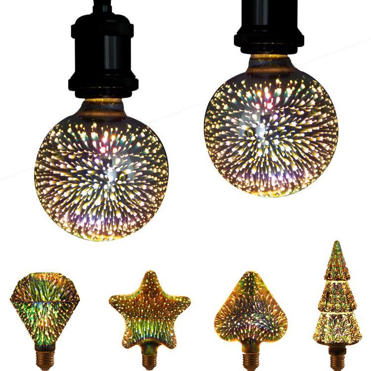 الإضاءة 3D الألعاب النارية الخفيفة لمبة شجرة عيد الميلاد 5W E27 / E26 LED لمبة ملونة زجاج مصباح زينة للعطلة شجرة عيد الميلاد الشكل